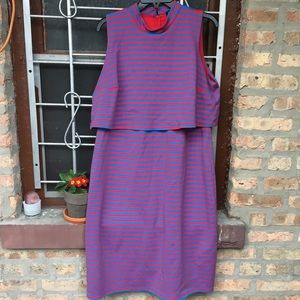 Eloquii Sz 18 Layered Red and Blue Stripe Dress